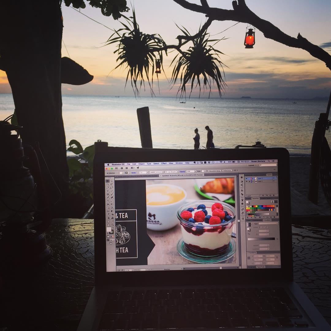 Working on new artwork for yoghurtbarn overseas paradise digitalnomad design