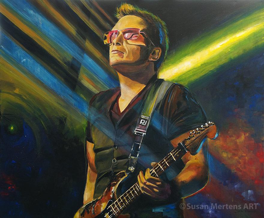 gitarist, fender, gitaar, portret, schilderij, acrylverf, live, kleuren