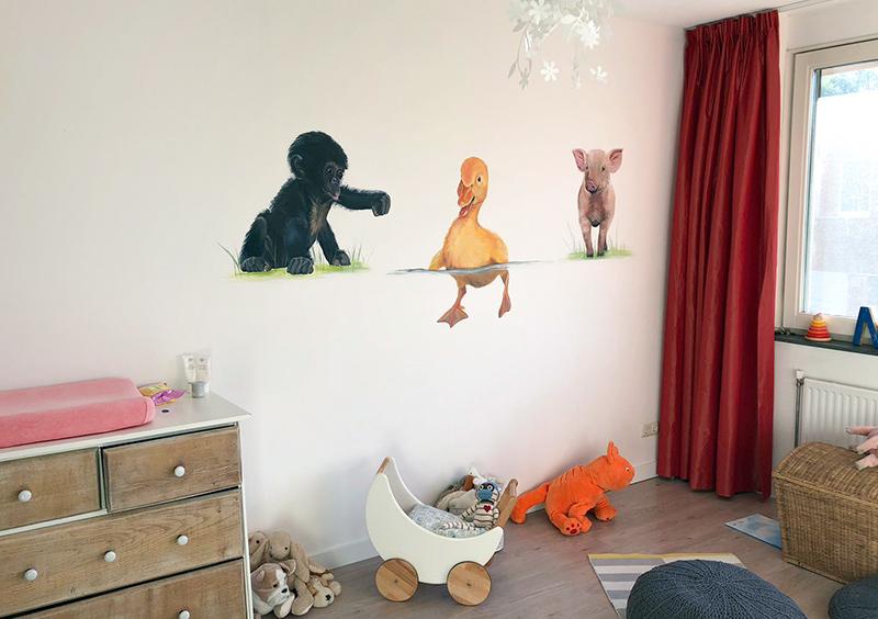 Behang Babykamer Utrecht : Muurschildering babykamer dieren susanmertens