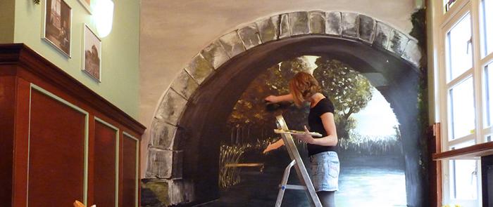 Muurschildering Café Voortuin