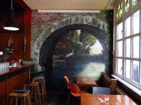 Muurschildering Café Voortuin 1