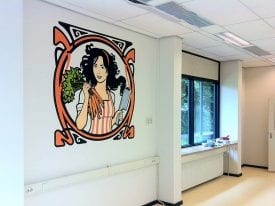 Muurschildering Logo de Vegetarische Slager