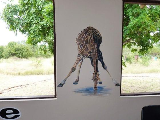 Muurschildering Giraf