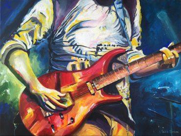 Schilderij muzikant met gitaar
