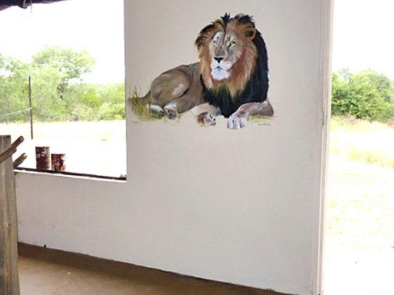Muurschildering Leeuw