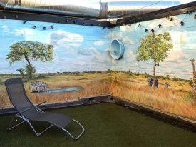 Zuid-Afrika muurschildering op balkon