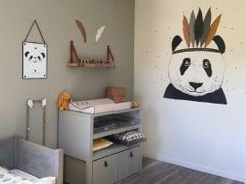 Muurschildering Babykamer Panda