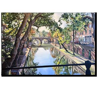 Schilderij Oudegracht Weesbrug Utrecht