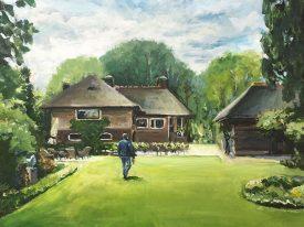 Schilderij van huis & tuin
