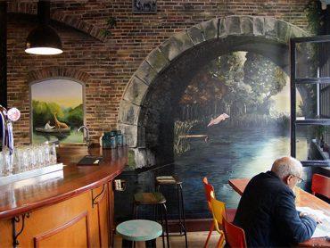 Muurschildering Cafe Voortuin 2
