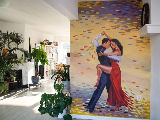 Muurschildering Dans Salsa