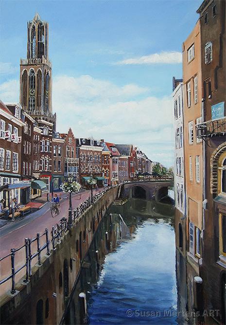 Schilderij utrecht; stadshuisbrug; domtoren utrecht; schilderij utrecht stad