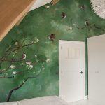 Muurschildering slaapkamer vogels