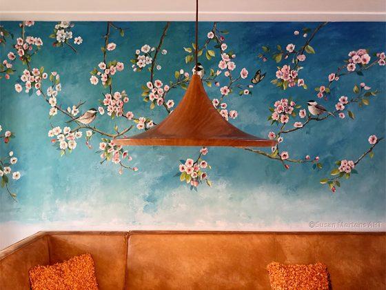 Muurschildering Bloesem