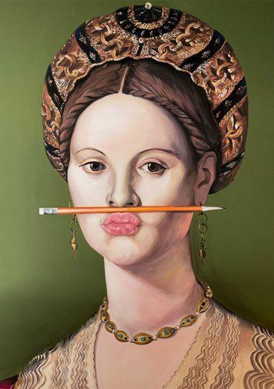 The Orange Pencil mural muurschildering vrouw