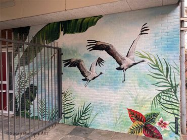 Muurschildering Jufferkraanvogels