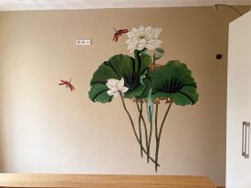 Muurschildering slaapkamer Lotus
